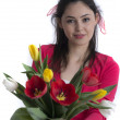 Beautiful young girl with a bouquet of flowers, Spring. studio p — Stock Photo
