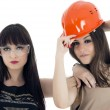 Couple of women workers isolated on a over white background — Stock Photo
