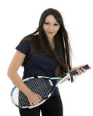 Happy female tennis player playing on racket as on guitar — Stock Photo