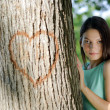 Young girl in love at the park — Stock Photo