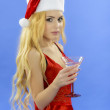 Party, drinks, christmas, x-mas concept - smiling woman in red d — Stock Photo