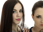 Portrait of two young women close together — Stock Photo