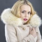 Fur Fashion.Beautiful Woman in Luxury Fur Coat — Stock Photo