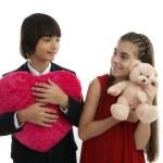 Two children, best friends concept of Valentine's Day — Stock Photo