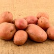 Raw potatoes on burlap sack isolated — Stock Photo #41542177