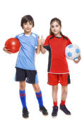 Two children soccer players showing sign ok — Stock Photo