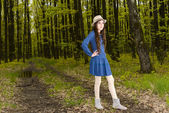 Portrait of a girl in the spring forest — Stock Photo