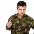 Military soldier thinking about something — Stock Photo #46439223