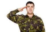 Army soldier saluting isolated on white background — Stock Photo