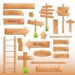 Wooden Banners and Elements Vectors - Stock Vector