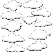 Fluffy Clouds Vector Illustration — Stock Vector
