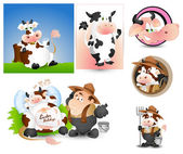 Cow Milk and Milkman Vectors — Stock Vector