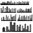 Retro Skylines Cityscapes Vectors — ベクター素材ストック