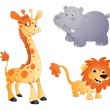 Animals Vectors - Lion, Giraffe and Rhino — Stock Vector #12844510