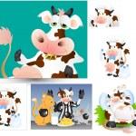 vectores de vacas — Vector de stock