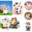 la vaca de leche y lechero vectores — Vector de stock