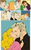 Retro Comic Kiss Love Vectors — Stock Vector