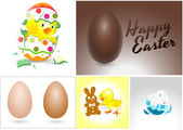 Easter Eggs, Bunny and Chicken Vectors — Stock Vector