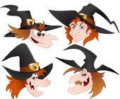 Cartoon Witch Faces Vectors — Stock Vector