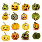 Cartoon Halloween Pumpkins — Stock Vector