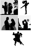 Love Couple Silhouettes Vectors — Stock Vector