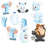 Vettori di latte e prodotti lattiero-caseari — Vettoriale Stock