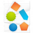 Notepaper and Vector Stickers — Stock Vector