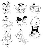 Cartoon Faces Vectors — Stock Vector