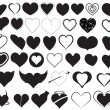 Stock Vector: Hearts Silhouettes Vectors