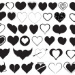 Hearts Silhouettes Vectors — Stock Vector