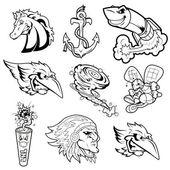 Various Mascot Vector Characters Tattoo — Stock Vector