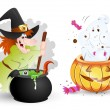 Stock Vector: Funny Halloween Characters - Witch and Ghost