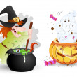 Funny Halloween Characters - Witch and Ghost — Stock Vector #13709678