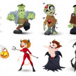 Detailed Halloween Characters Illustration Set in Vector — Stock Vector #13709683