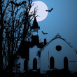 Creepy Old Church Vector — Stock Vector