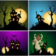 Stok Vektör: Halloween Backgrounds Vector Set