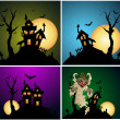 Halloween Backgrounds Vector Set — Stock vektor