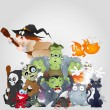 Halloween Monsters Family - Devil, Cat, Witch and More — Stock Vector