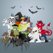 Halloween Monsters Party Celebration — Stock Vector