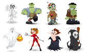 Detailed Halloween Characters Illustration Set in Vector — Stock Vector