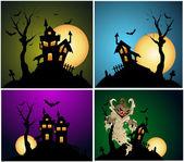 Halloween Backgrounds Vector Set — Stock Vector