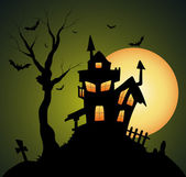 Creepy Old Halloween Horrable House — Stock Vector