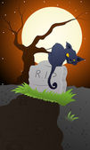 Cat on a Grave Stone — Stock Vector