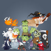Collection of Monsters, Ghosts, Witches and More — Stock Vector