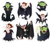 Vector Illustrations of Dracula and Vampires Monsters including Classic and Funny Modern — Stock Vector