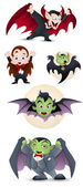 Collection of Cartoon Dracula and Vampires — Stock Vector