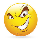 Smiley Emoticons Face Vector - Cunning evil Expression — Stock Vector