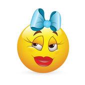 Smiley Emoticons Face Vector - Romantic Girl Expression — Stock Vector