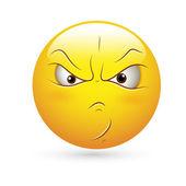 Emoticons smiley face vector - expressão de raiva — Vetorial Stock