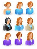 Female Profile Icons — Stock Vector